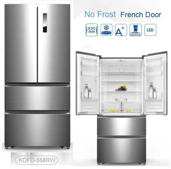 Auto Defrost French Fridge Freezer , French Door Style Refrigerators 4 Star Rating